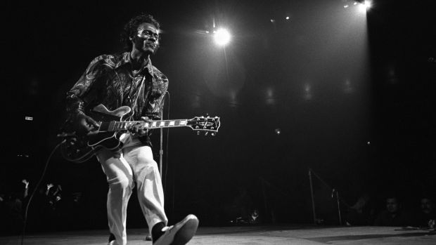 Chuck Berry, who died in March 2017, had his cherry-red Gibson guitar bolted to the inside of his coffin lid. Photograph: Donal F. Holway/The New York Times