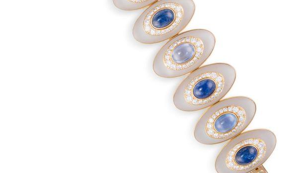 lot 113, bracelet saphir, diamant et cristal de roche