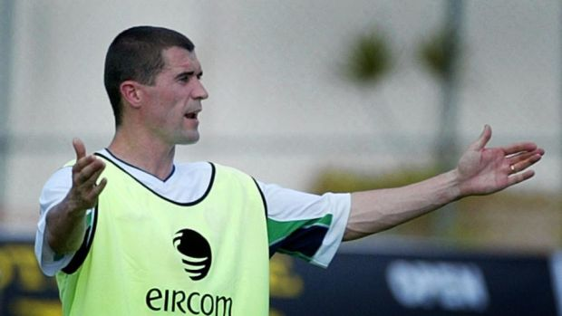 Ireland captain Roy Keane raises his arms in frustration during training in Saipan. Photograph: Kieran Doherty/Reuters