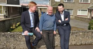 The SDLP's Daniel McCrossan (left),   local  man Eamon Holland (centre), and  SDLP leader Colum Eastwood during canvassing in Strabane