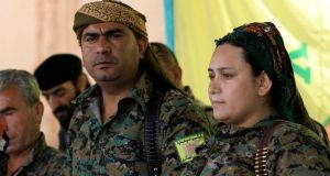 Lilwa al-Abdallah, spokeswoman for the Syrian Democratic Forces (SDF), i in Deir al-Zor, Syria, on Tuesday. Photograph:  Rodi Said/Reuters