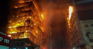 Flames engulfing a building in the city centre of Sao Paulo. Photograph: Sao Paulo Fire Department/AFP/Getty Images
