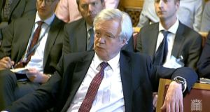 Brexit secretary David Davis  giving evidence to the House of Lords EU committee  on  UK withdrawal from the EU. Photograph:  PA Wire
