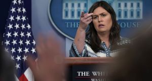 White House press secretary Sarah Sanders during a White House  briefing on Tuesday. She  added to concerns that the US  is poised to withdraw from the nuclear deal with  Iran. Photograph: Alex Wong/Getty Images