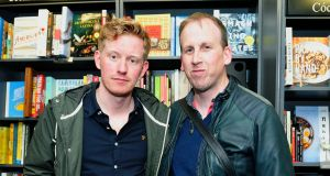 Colin Barrett, left, award-winning author of Young Skins, and Stinging Fly publisher Declan Meade. Photograph: Aidan Crawley