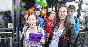 The Get the Boat to Vote campaign saw young emigrants return to vote in the 2015 marriage equality referendum, using the #Hometovote hashtag on social media. Photograph: Dave Meehan