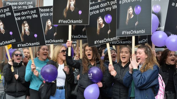 Students from Santa Sabina in Sutton supporting fellow student Ruth Nolan who has Cystic Fibrosis by attending the Cystic Fibrosis Orkambi protest at the Dáil in March 2017. Photograph: Alan Betson/The Irish Times