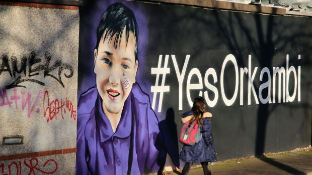 Orkambi graffiti on Charlemont Place in Dublin in December 2016. Photograph: Nick Bradshaw/The Irish Times