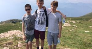 Mark, David and Tom Kerins, who all have CF, on holiday in Italy last year. Photograph: Maggie Kerins