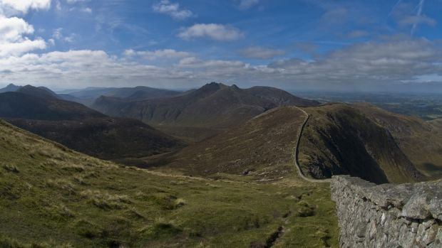 The Mourne Wall reflects the Great Wall of China by undulating 35km over the high Mournes. Photograph: Getty