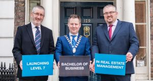 Paul Campbell of IT Tallaght, IPAV president Brian Dempsey and AIT's Dr Michael Tobin launch the new BBS in real estate.