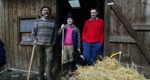 Vincent Coyle with Brian Maloney and Cian Hackett on Coyle's farm in Summerhill, Co Meath. Photograph: Cyril Byrne