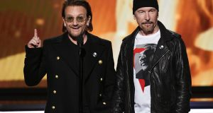 """It's huge very emotive and I accept that,"" says Edge. ""But I'm for it. I support Repeal."" With Bono at this year's Grammy in January. Photograph:  Kevin Winter/Getty Images"