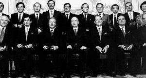 Mary O'Rourke (back row, second right) at Áras an Uachtaráin for the swearing in of the new Fianna Fáil Cabinet in March 1987. Photograph: Matt Kavanagh