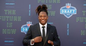 UCF linebacker Shaquem Griffin arrives on the red carpet before the 2018 NFL Draft at AT&T Stadium. Photograph:  Jerome Miron-USA TODAY Sports