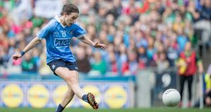 "Dublin's Sinead Aherne in action against  Mayo in September: ""It's a big prize, a national title, one we haven't won, so it's something we'd love to scratch off the list."" Photograph: Morgan Treacy/Inpho"