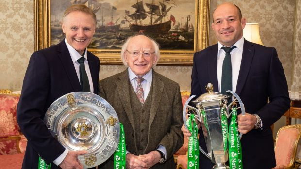 Ireland head coach Joe Schmidt with President Michael D Higgins and Ireland captain Rory Best. Photograph: Laszlo Geczo/Inpho