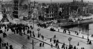 View of Sackville Street (O'Connell Street) and the Liffey at Eden Quay in Dublin at the time of the Easter Rising. Photograph: PA