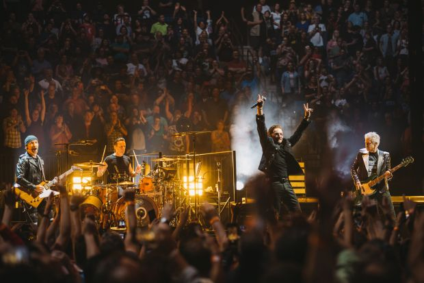U2 at the BOK Centre in Tulsa, Oklahoma on Wednesday. Photograph: Danny North