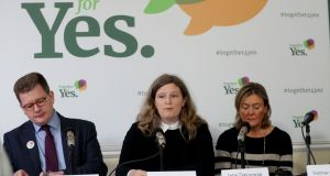 Gerry Edwards, national spokesman for Together for Yes; Dr Jen Donnelly, consultant in obstetrics and maternal foetal medicine; and Jane Dalrymple, clinical midwife and specialist in foetal medicine, at a Together for Yes campaign event in Dublin on Thursday
