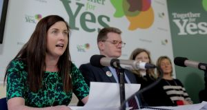 (Left to right) Amy Walsh; Gerry Edwards;  Jen Donnelly and Jane Dalrymple at the Rotunda Hospital in Dublin for a Together for Yes campaign event. Photograph: Maxwells.