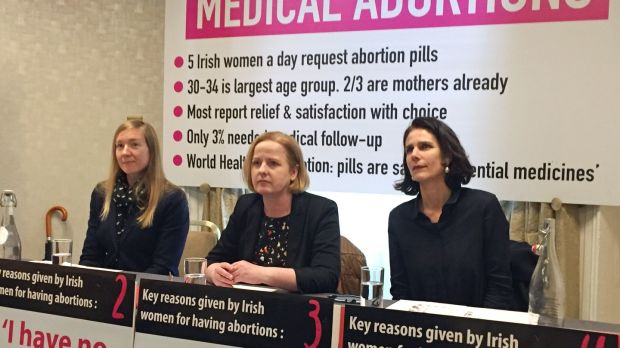 From left are academic Abigail Aiken, Solidarity TD Ruth Coppinger and Dr Rebecca Gomperts of abortion right group Women on Web, during a press conference this week on the issue of importing abortion pills online, at Buswells Hotel in Dublin. File photograph: Laura Paterson/PA Wire