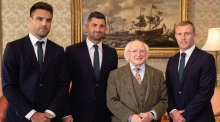 President Higgins welcomes Ireland's Grand Slam heroes to Áras
