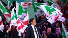Matteo Renzi, then Democratic Party (PD) leader, waves during the party's final rally, in Florence, ahead of the March 4th general election. Photograph:  Alessandro Bianchi/Reuters