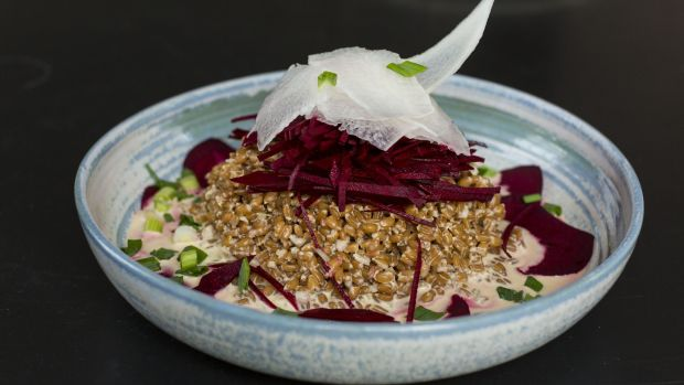 Beetroot and spelt salad. Photograph: Emma Jervis