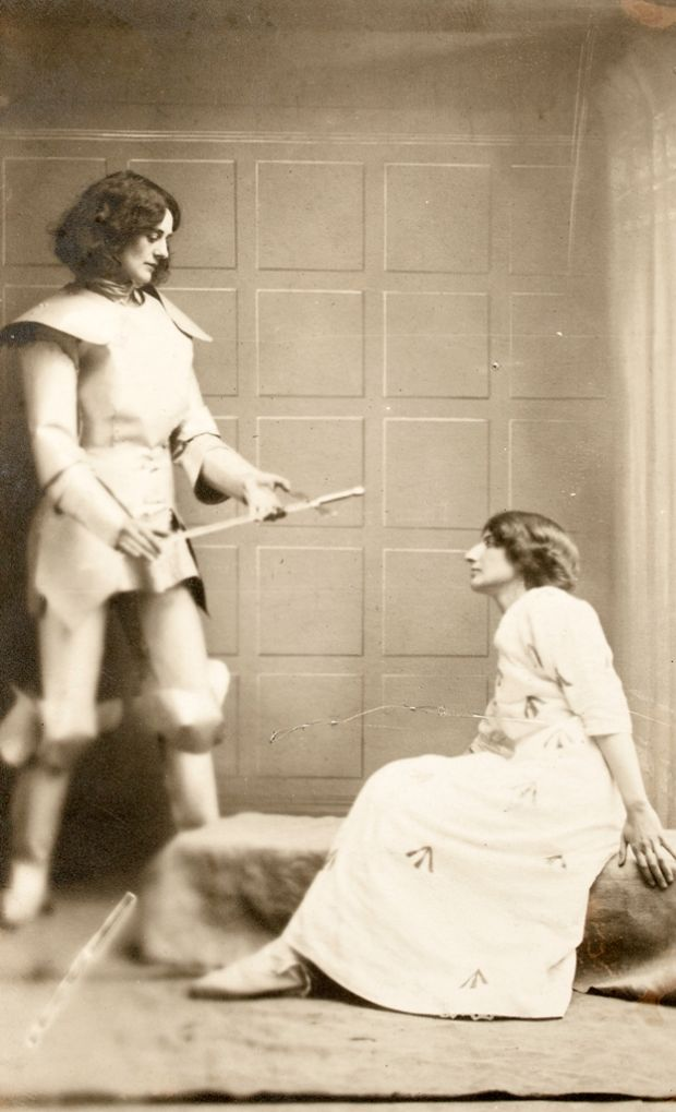 Constance Markievicz as Joan of Arc with Kathleen Houston in 1914