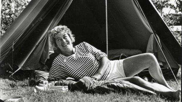 Nuala O Faolain outside her tent at Lough Gowna, Dring, Co Longford, in 1990. Photograph: Frank Miller