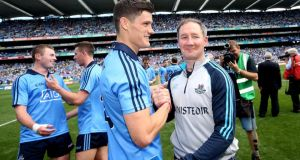Diarmuid Connolly  and Jim Gavin celebrate  Dublin's Leinster Final win at Croke Park in 2014. Photograph:  James Crombie/Inpho