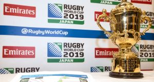 The Rugby World Cup in a Dublin hotel at an   announcement of match venues. Photograph: James Crombie/Inpho