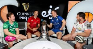 Connacht's Kieran Marmion, Munster's Conor Murray, Leinster's Josh van der Flier and Ulster's Marcell Coetzee at an event to announce that Eir Sport has  secures broadcast rights to the  Pro 14. Photograph:  Dan Sheridan/Inpho