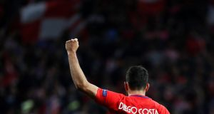 Atletico Madrid's Diego Costa celebrates scoring their  goal in the  Europa League semi-final second leg against Arsenal at the Wanda Metropolitano in  Madrid. Photograph: Juan Medina/Reuters