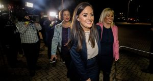 Sinn Féin candidate Órfhlaith Begley arrives at the West Tyrone count centre with Sinn Féin president Mary Lou McDonald and party Stormont leader Michelle O'Neill. Photograph: Liam McBurney/PA Wire
