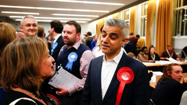 Mayor of London Sadiq Khan visits Wandsworth Town Hall after the local government elections in London. Photograph: Reuters