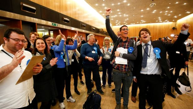 Supporters of the British Conservative Party react during the count at Wandsworth Town Hall on Friday. Photograph: Reuters