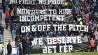 Rangers fans display banners during the league  match between Rangers and Hearts at Ibrox  on April 22nd, 2018. Photograph:  Getty Images