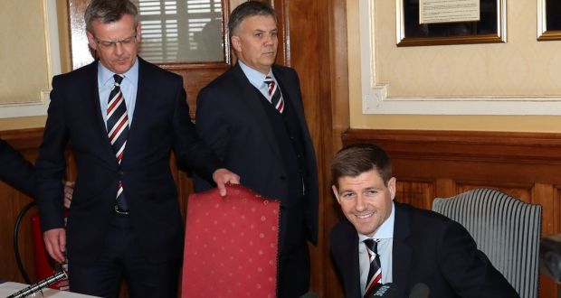 New Rangers manager Steven Gerrard during the press conference at Ibrox. Photograph: Scott Heppell/Reuters