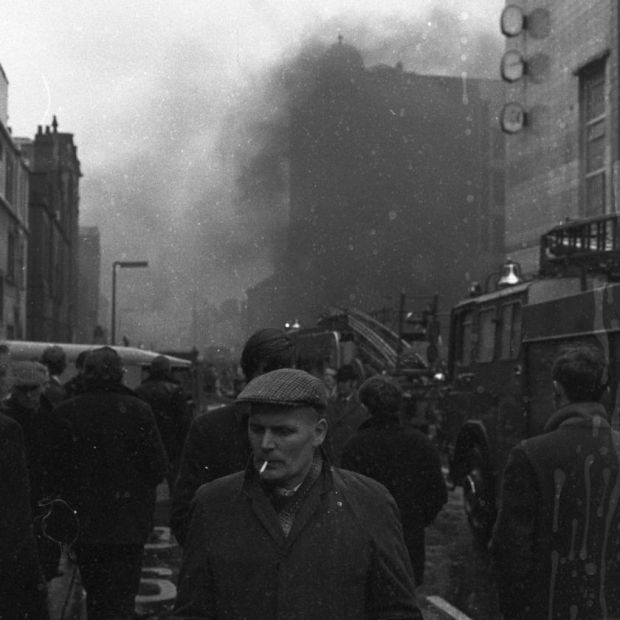 Troubled times: the aftermath of an explosion in Belfast. Photograph: Bobbie Hanvey