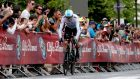 British cyclist Chris Froome in action during the first stage of the Giro d'Italia  in Jerusalem, Israel. Photograph: Atef Safadi/EPA