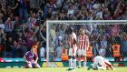 Stoke City's Jack Butland and team mates react after conceding their second goal scored by Crystal Palace's Patrick van Aanholt. Photo: Carl Recine/Reuters