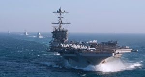 US second fleet: the aircraft carrier USS Harry S Truman and its strike-group ships in the Atlantic last year. Photograph: Scott Swofford/US Navy/EPA