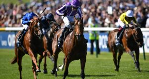 Saxon Warrior ridden by Donnacha O'Brien wins the Qipco 2000 Guineas Stakes at Newmarket Racecourse. Photograph: Joe Giddens/PA