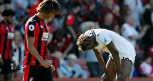 Swansea City's Tammy Abraham looks dejected after losing to Bournemouth. Photograph: Reuters
