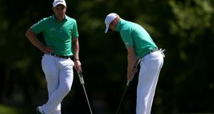 Ireland's Paul Dunne and Gavin Moynihan during day one of the Golf Sixes tournament. Photograph: PA
