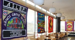 Banners created by British artist Ed Hall