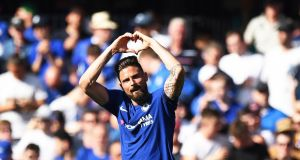 Chelsea's Olivier Giroud celebrates scoring against Liverpool. Photograph: PA