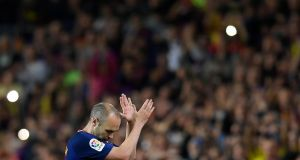Andres Iniesta leaves the pitch after his final El Clásico appearance. Photograph: Lluis Gene/AFP